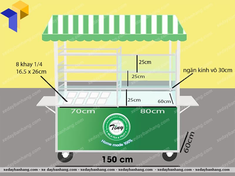 xe đẩy bán trái cây tự chọn lưu động